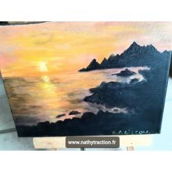 Peinture coucher soleil sur mer