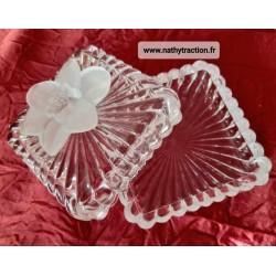 Coffret bijoux en cristal d'Arques et sa fleur