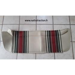 Plage arrière en tissu rayé beige/ vert / rouge 2CV